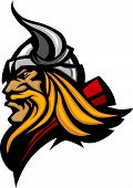 pic of viking  - Graphic Mascot Vector Image of a Viking Norseman Profile with Helmet - JPG