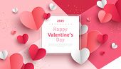 Valentines Day Concept Background. Vector Illustration. 3d Red And Pink Paper Hearts With White Squa poster