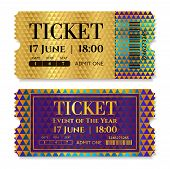Admission Golden Ticket Template. Vector Mockup Movie Ticket (tear-off) With Gold Triangle Pattern,  poster