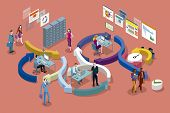 Isometric Vector Concept Illustration . Agile Development Workflow Method. Isometric View Of Develop poster