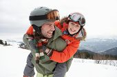 foto of pre-teen boy  - Young Father And Son On Winter Vacation - JPG