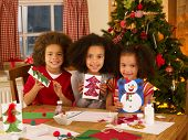 picture of card-making  - Mixed race children making Christmas cards - JPG