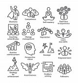 Business Management Line Icons Pack 45 Icons For Leadership, Career poster