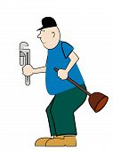 stock photo of pipefitter  - bald plumber with plunger and pipe wrench - JPG