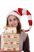 Young Smiling Woman With Christmas Presents