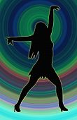 Color Circle Back Dancing Girl Spread Arms Pose
