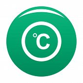 Celsius Icon. Simple Illustration Of Celsius Icon For Any Design Green poster