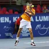 KUALA LUMPUR - SEP 27: Albert Ramos of Spain plays his round 2 match at the ATP Tour Malaysian Open