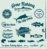 stock photo of catfish  - Collection of retro style gone fishing labels and stickers - JPG