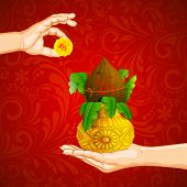 stock photo of kalash  - illustration of hand holding mangal kalash offering flower - JPG
