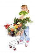 Little Girl Shopping Vegetables