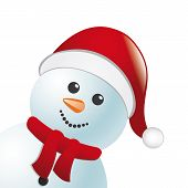 Snowman With Scarf And Hat