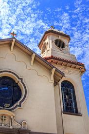 stock photo of stanislaus church  - St Stanislaus Catholic Church in Modesto California - JPG