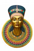 pic of pharaohs  - Face of Queen Nefertiti isolated on white - JPG