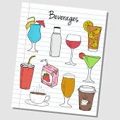 Beverages Doodles - Lined Paper