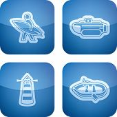 picture of pontoon boat  - 4 vector icons related to ships boats and other objects - JPG