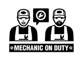 Mechanic icon. Mechanic on duty.