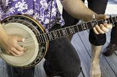 stock photo of banjo  - Close up detail of musicians hand on Banjo - JPG