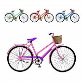 image of tandem bicycle  - set of a color bicycles - JPG