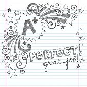 A Plus Student Great Grades Back to School Sketchy Notebook Doodles with Lettering, Shooting Stars,