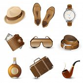 stock photo of tobacco-pipe  - 9 highly detailed men accessories icons - JPG