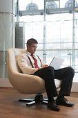 Постер, плакат: Бизнесмен в кресло работает на ноутбуке