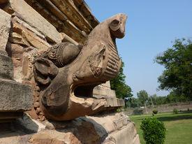 foto of kandariya mahadeva temple  - Water spout in the shape of a mythocal beast Kandariya Mahadeva Temple at Khajuraho in India Asia - JPG