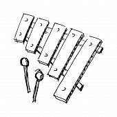 foto of idiophone  - hand drawn sketch cartoon illustration of xylophone - JPG