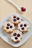 picture of augen  - Traditional Linzer Cookies with sugar and jam - JPG