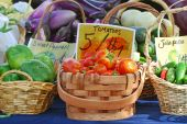 picture of farmers market vegetables  - Fresh vegetables in baskets for sale at a farmer - JPG