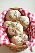 stock photo of home-made bread  - Home made Bread Rolls in a bread basket - JPG