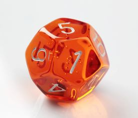 picture of dodecahedron  - Closeup of an orange 12 - JPG