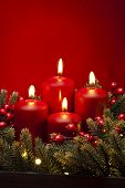 picture of christmas flower  - 4th Advent red candle Christmas flower arrangement with berries - JPG