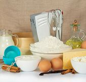 picture of cake-mixer  - Set of products for baking - JPG