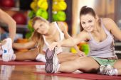 image of stretching exercises  - Two smiling girls do exercise in sports club - JPG
