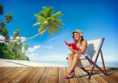 picture of palm-reading  - Woman Reading on Beach - JPG