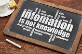information is not knowledge  - a quote from Albert EInstein and a related word cloud   on a vintage slate blackboard poster
