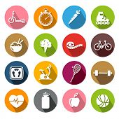 stock photo of inline skating  - Collection of icons representing healthy lifestyle - JPG