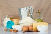 stock photo of cake-mixer  - Set of products for baking - JPG