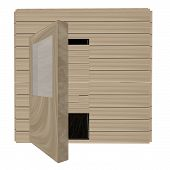 stock photo of swedish sauna  - Wooden sauna isolated over white 3d render - JPG