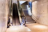 stock photo of escalator  - at the station have several escalators for each peron - JPG