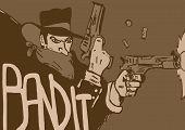 foto of bandit  - Vintage bandit image with shooting guns and flying bullets - JPG