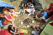pic of sleeping bag  - Young people on camping trip - JPG