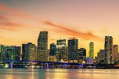 stock photo of florida-orange  - Famous cIty of Miami Florida USA summer sunset