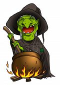 picture of witches cauldron  - Cartoon illustration of a witch stirring concoction in the cauldron - JPG