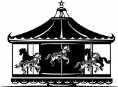 pic of carousel horse  - Woodcut style image of a fair carousel - JPG
