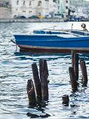 stock photo of ski boat  - Pleasure boat moored in the bay of Balaklava - JPG