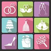 picture of wedding feast  - Vector Design wedding Flat icons for Web and Mobile - JPG