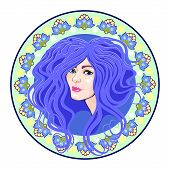 stock photo of cameos  - cameo with floral ornament and head girl blue - JPG