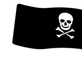 picture of skull crossbones flag  - Pirate Black Flag with white Skull and Crossbones sign on white background - JPG